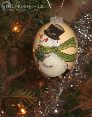 blown, decorated eggs adorn Christmas tree