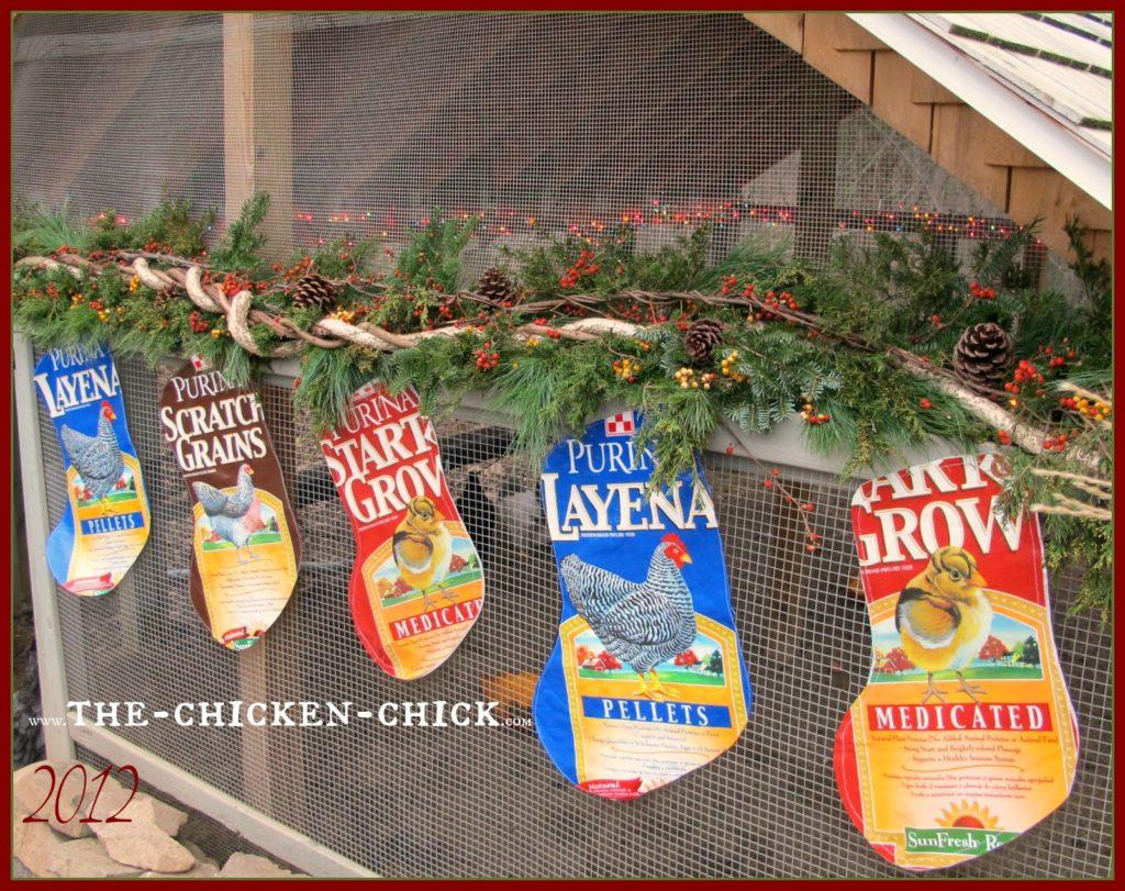 Repurposed Chicken Feed Bag Christmas Stockings tutorial