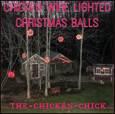 lighted christmas balls made with chicken wire are a unique and festive decoration in any yard