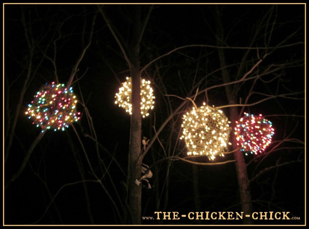 chicken wire lighted christmas balls tis the season