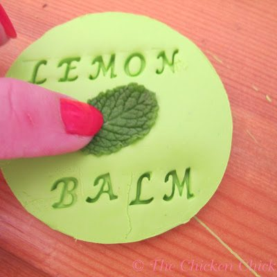 Imprint the the name of the herbs/plants on the clay with the embossing letters, a skewer or leaves.