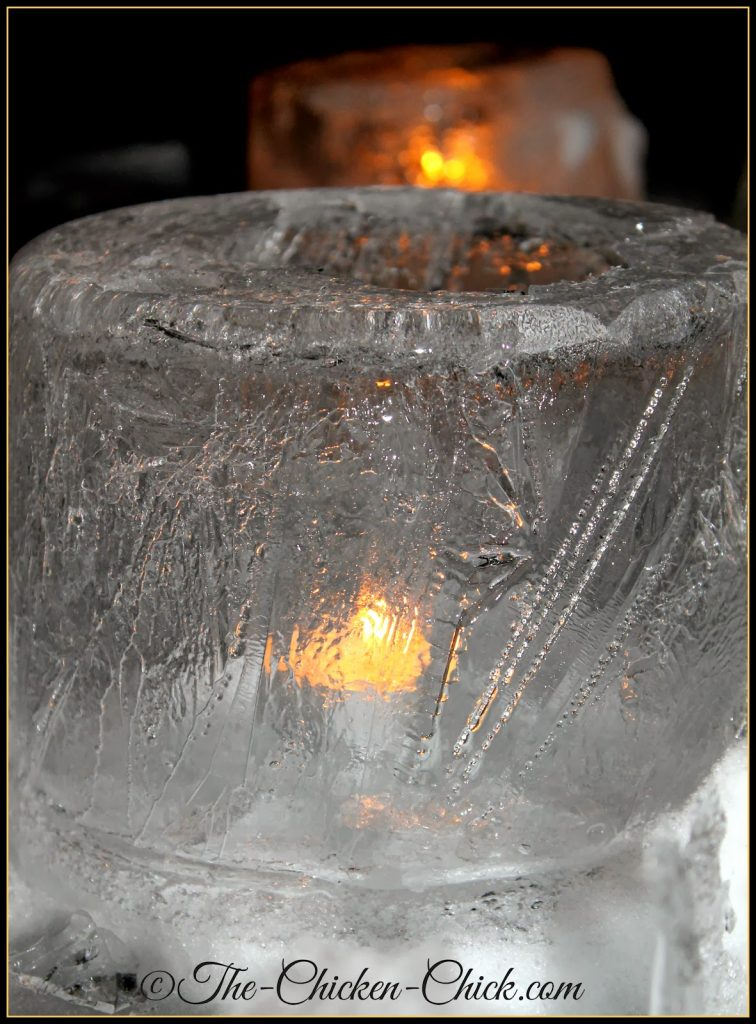 Ice lantern with tea light inside