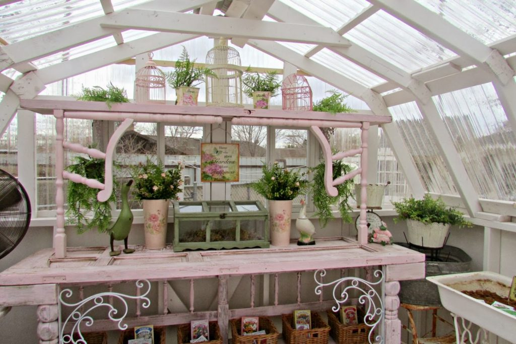 Potting Bench for the Greenhouse, shared by Penny's Vintage Treasures