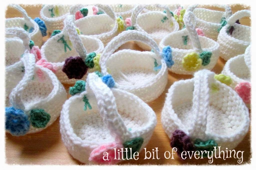 Crocheted Easter Baskets, shared by A Little Bit of Everything