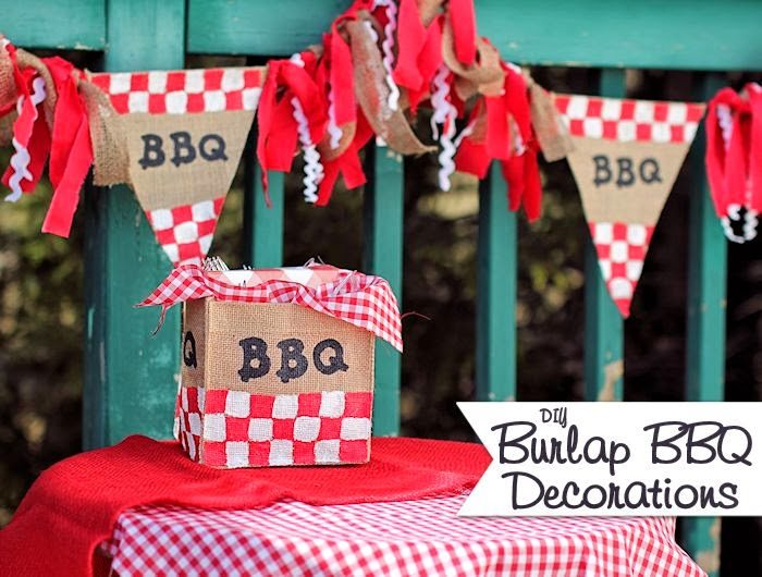 Burlap BBQ Decorations, shared by About Family Crafts