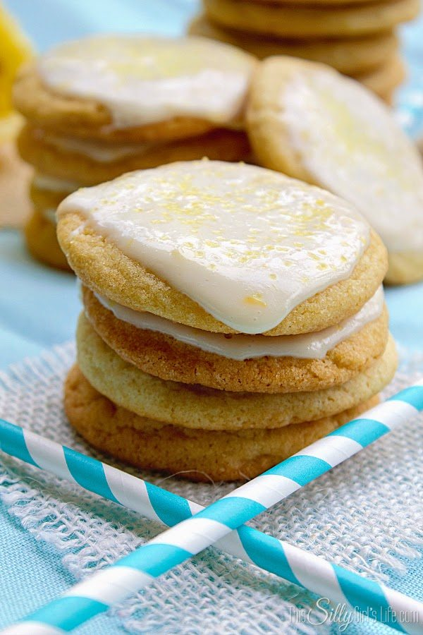 Lemon Cream Glazed Chewy Sugar Cookies, shared by This Silly Girl's Life
