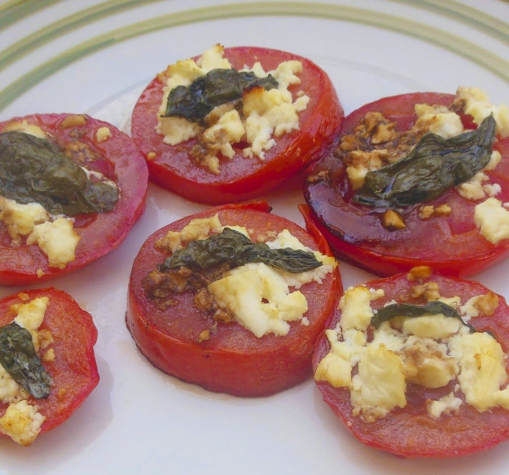 Baked Tomatoes with Feta, Olive Oil & Basil, shared by Lori's Culinary Creations