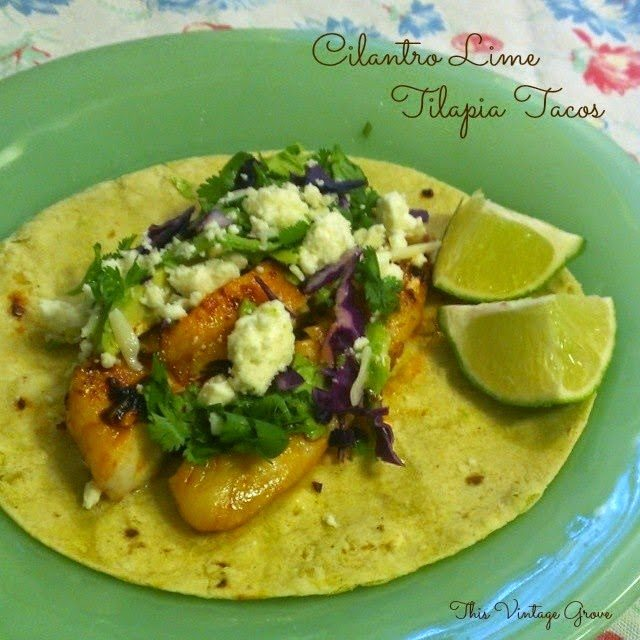 Cilantro Lime Tilapia Tacos, shared by This Vintage Grove