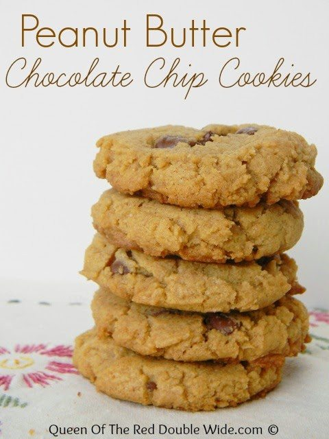 Peanut Butter Chocolate Chip Cookies, shared by Queen of the Red Doublewide