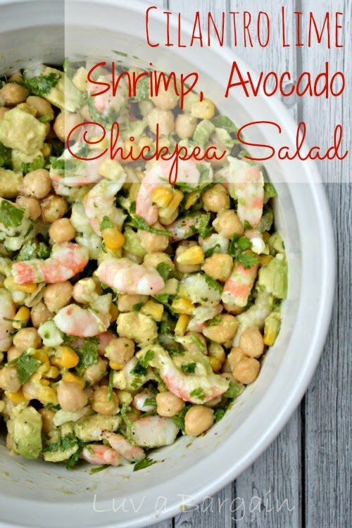 Cilantro Lime, Shrimp, Chickpea Salad, shared by Luv a Bargain