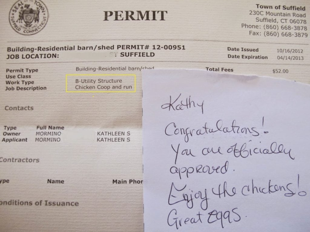 Permit for chicken coop with a lovely note from the town employee