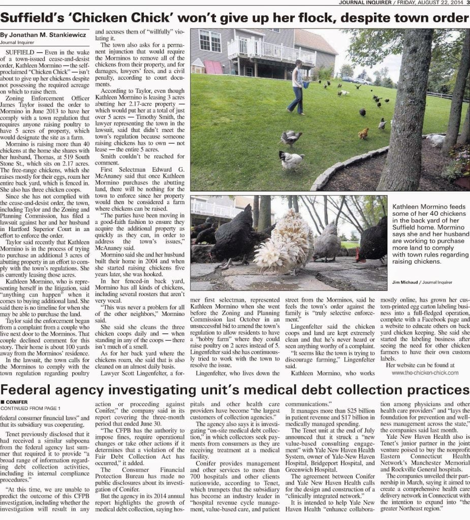 Journal Inquirer Newspaper article details legal battle over backyard chickens