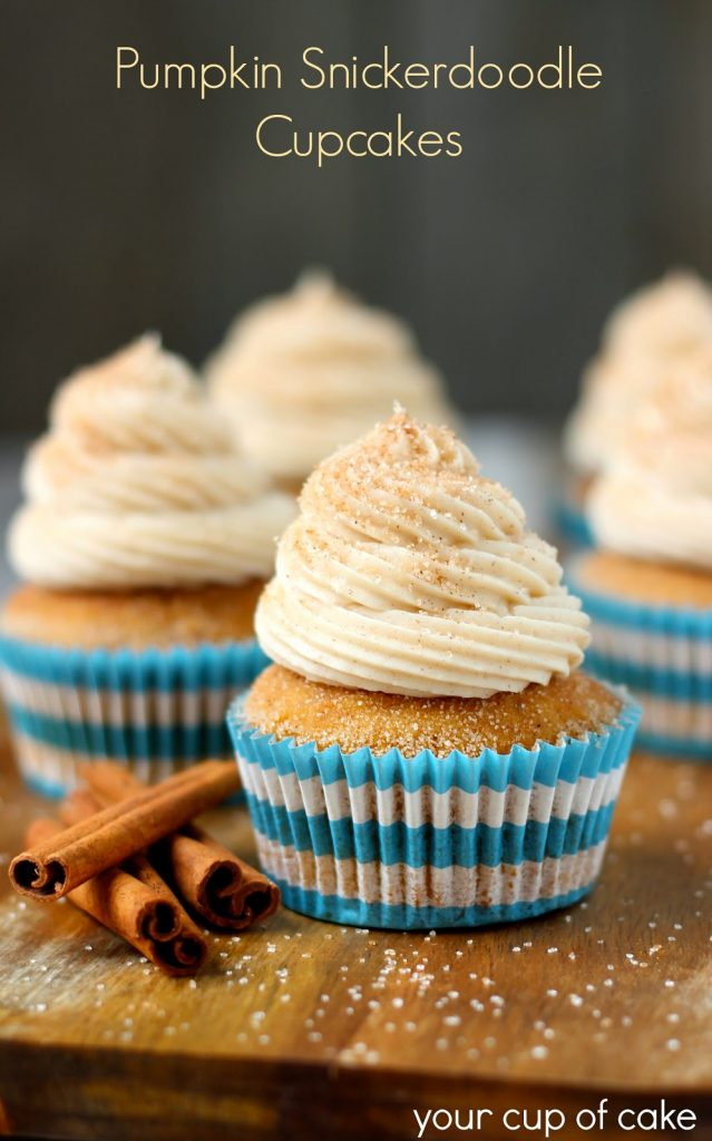 Pumpkin Snickerdoodle Cupcakes, shared by Your Cup of Cake