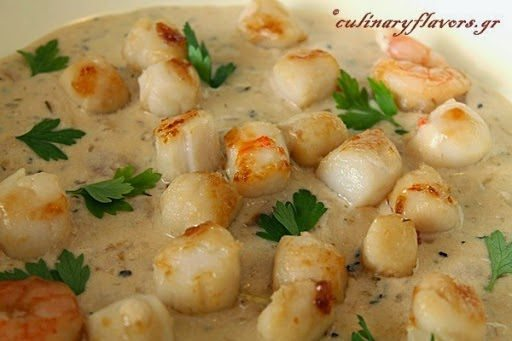 Pan Seared Scallops with Apple Cider Cream, shared by Culinary Flavors