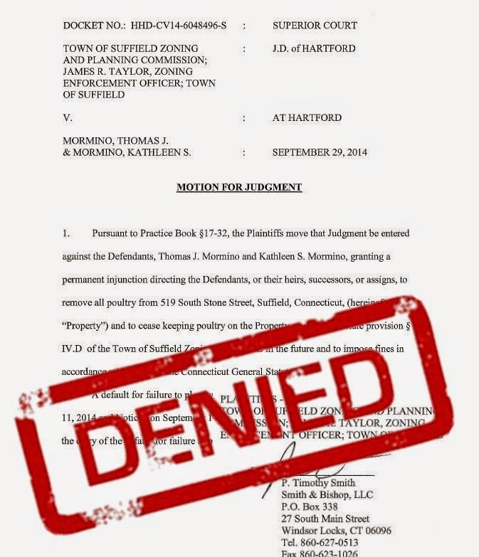 Town of Suffield's Motion for Judgment DENIED by the court.