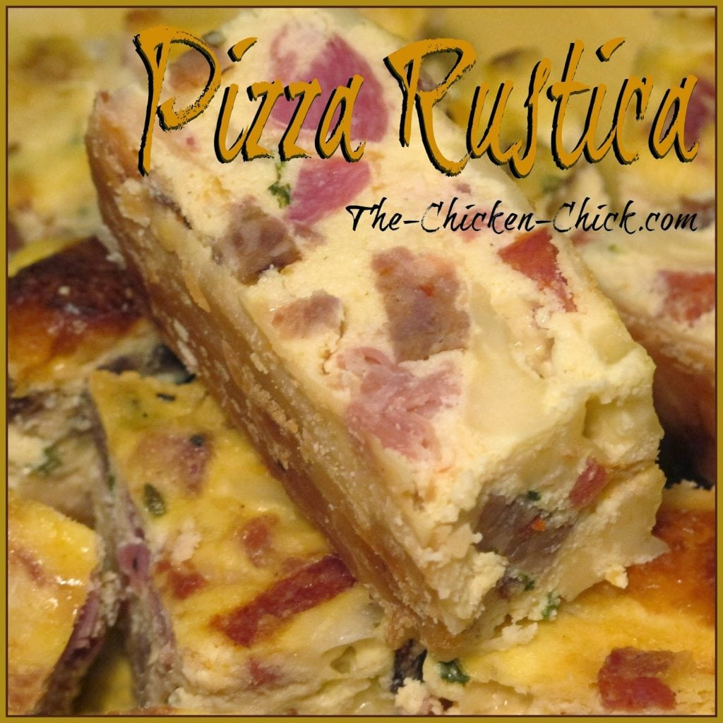 Pizza Rustica is a traditional, Italian dish that is served at Easter; it's part pastry, part pie, part quiche and part deli platter. It is also referred to as Pizzagaina or Pizza Gain.