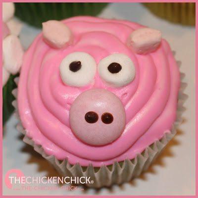 Farm animal cupcakes, pig