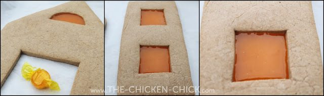 Gingerbread Chicken Coop windows made with butterscotch candies
