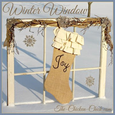 Upcycled Winter Window via The Chicken Chick®