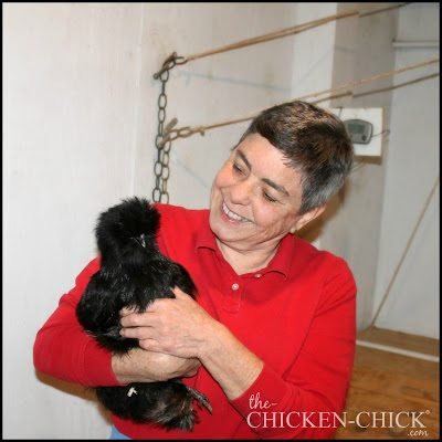 Gail Damerow with one of her Black Silkie hens.