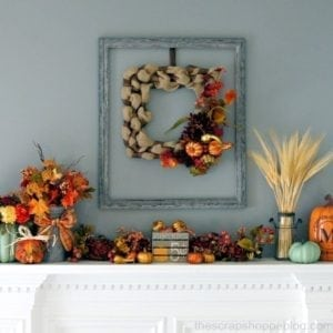 Fall Mantel and Painted Pumpkin Crate
