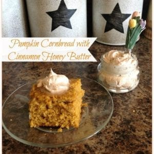 Pumpkin corn bread and cinnamon honey butter