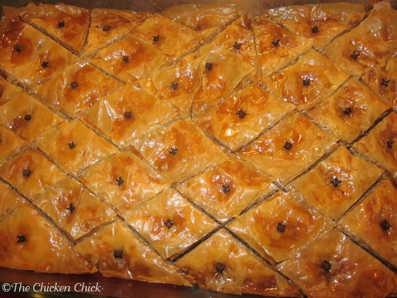 Baklava is a traditional Greek dessert made with phyllo dough, walnuts and a special syrup. It is best made well in advance of serving so the ingredients have time to soak into the phyllo dough. Mmmm