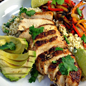 Blackened Chicken Fajitas & Cilantro Lime Cauliflower Rice, shared by From Everyday to Gourmet