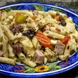 Muffeletta Pasta Salad, shared by Simple Living and Eating