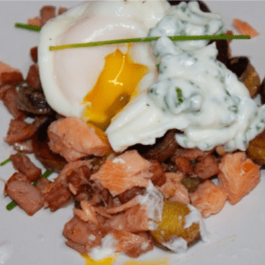 Smoked Trout and Canadian Bacon Hash