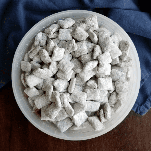 The Original Chocolate Peanut Butter Puppy Chow, shared by Cooking with Carlee