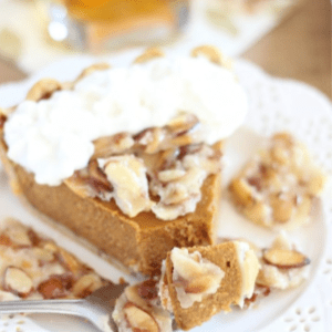 Amaretto Pumpkin Pie with Almond Brittle, shared by The Gold Lining Girl