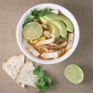 Chicken Tortilla Soup with Pepper-lime Tortilla Chips, shared by Mama, Mommy Mom