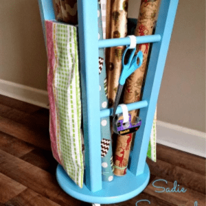 DIY Bar Stool Gift Wrap Center, shared by Sadie Seasongoods