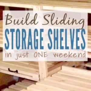 DIY Sliding Storage Shelves shared by Just Measuring Up