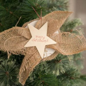 Easy Star Burlap Ornament, shared by Bigger than the Three of Us