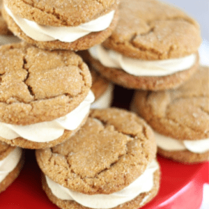 Ginger Cookie Sandwiches with Caramel Buttercream, shared by The Gold Lining Girl