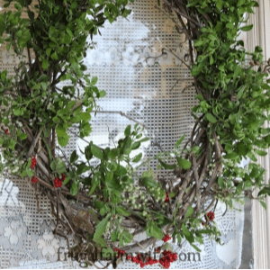 Grapevine & Mistletoe Wreath, shared by The Frugal Farm Wife