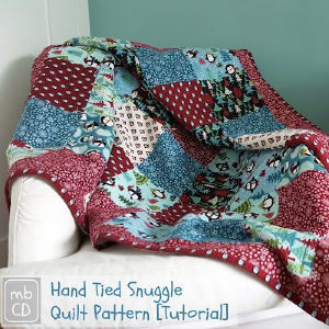 Hand-tied Snuggle Quilt Tutorial, shared by Made by ChrissieD