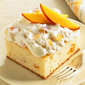 Peaches & Cream Cake Recipe shared by Poinsettia Drive
