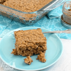 Peanut Butter Chai Banana Baked Oatmeal, shared by The Frugal Foodie Mama