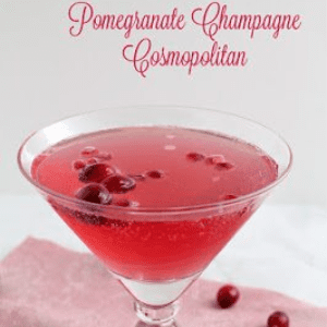 Pomegranate Champagne Cosmo, shared by Frugal Foodie Mama