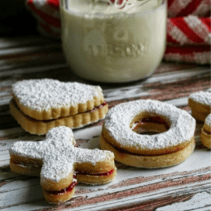 Raspberry Almond Sandwich Cookies, shared by I Thee Cook