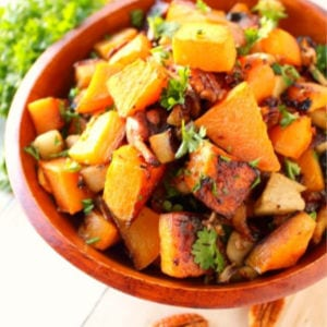 Roasted Butternut Squash, Apples, Bacon & Pecan Medley, shared by Delightful E Made