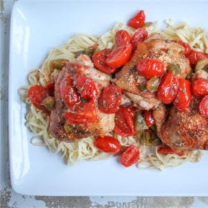 Roasted Tomato & White Wine Chicken Thighs, shared by The Kittchen