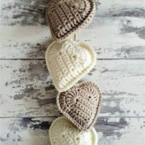 Rustic Crochet Hanging Hearts, shared by Leasowes View