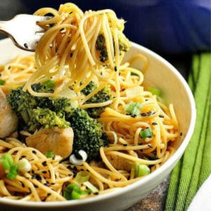Sesame Noodles with Chicken & Broccoli shared by A Dish of Daily Life