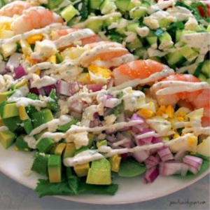 Shrimp Cobb Salad with Light Buttermilk Dressing, shared by Jo and Sue