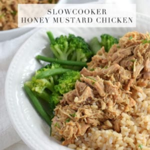 Slow Cooker Honey Mustard Chicken, shared by Lynzy & Co.