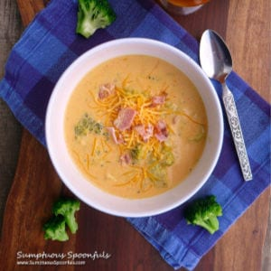 Smoky Broccoli Beer Cheese Soup shared by Sumptuous Spoonfuls